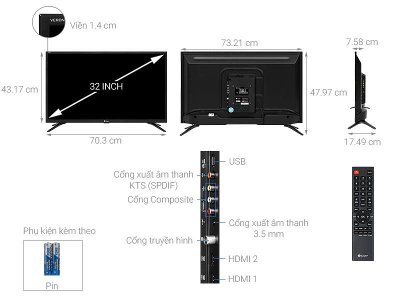 Thông số kỹ thuật Tivi Casper 32 inch 32HN5000
