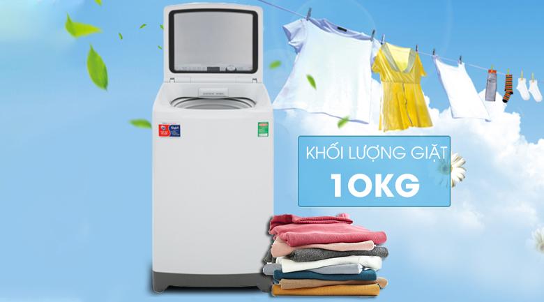 Khối lượng giặt -Máy giặt Aqua 10 kg AQW-FR100ET.H lồng đứng