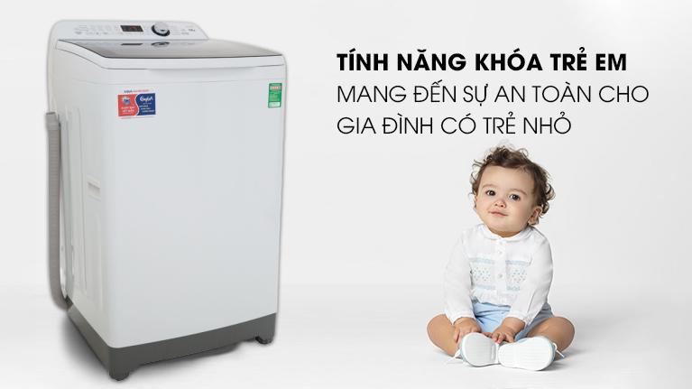 An toàn cho trẻ em-Máy giặt Aqua 10 kg AQW-FR100ET.H lồng đứng