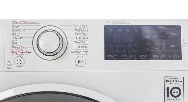 Máy giặt lồng ngang LG 8kg FM1208N6W bảng điều khiển nút chạm
