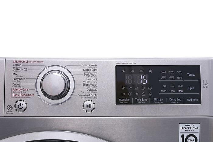 Máy giặt LG 8kg lồng ngang inverter FC1408S3E tiện ích