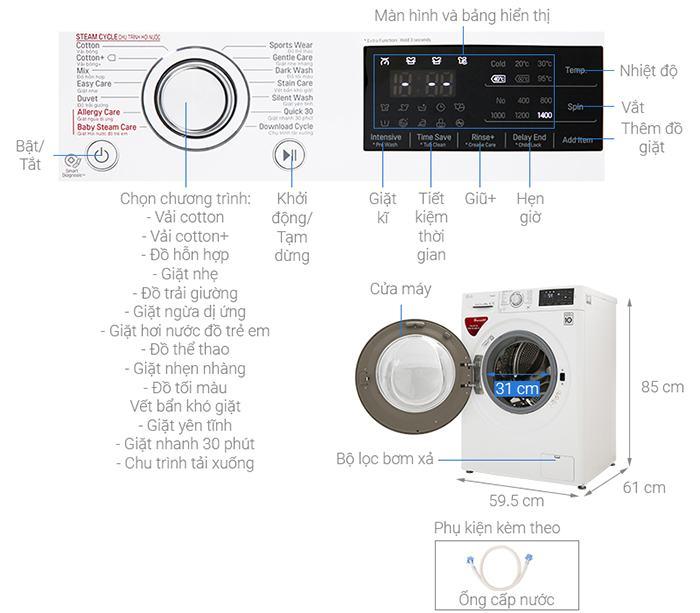 Máy giặt LG Inverter 9 kg cửa trước FC1409S4W kích thước