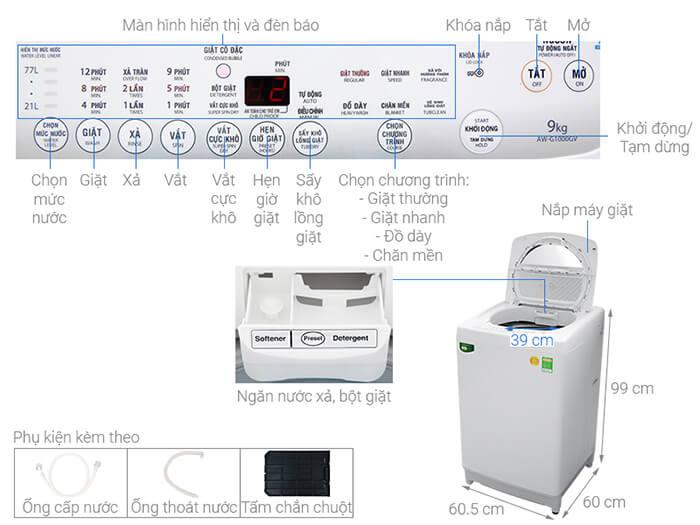 Máy giặt Toshiba 9kg lồng đứng AW-G1000GV WG
