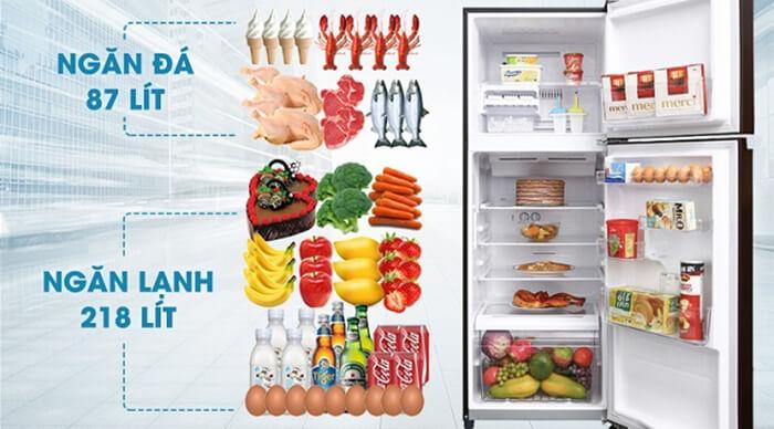 Tủ lạnh Toshiba 305 lít inverter GR-AG36VUBZ XB1 dung tích